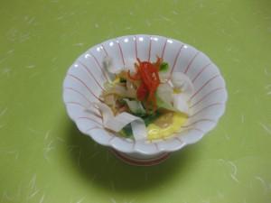酢の物:赤貝とうるいの黄身酢掛け