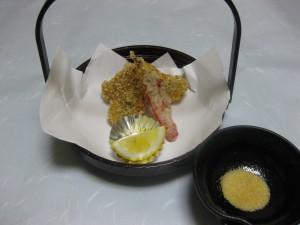 揚げ物:鱧の玄米揚げ