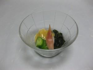 酢物:貝柱、若布、胡瓜の酢味噌和え