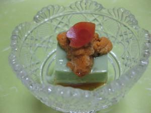 先付:蓬豆腐、生雲丹