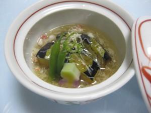 煮物:賀茂茄子の蟹餡掛け