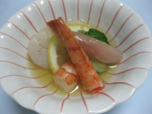 酢物:貝柱と海老の土佐酢掛け