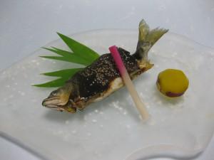 焼物:鮎の田楽焼き